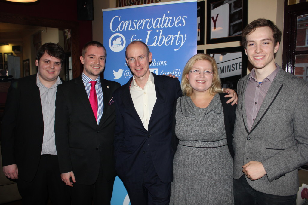 The CfL executive with Daniel Hannan MEP (L-R Joe Markham, Paul Nizinskyj, Daniel Hannan, Emily B
